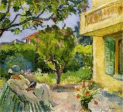 Lebasque, Henri Madame Lebasque Reading in the Garden oil painting artist